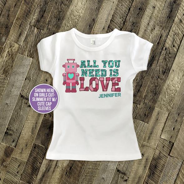 Valentine's Day robot girl personalized Tshirt