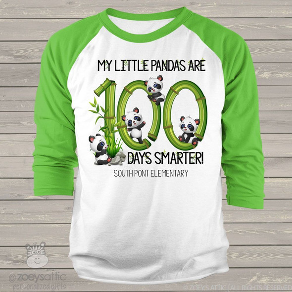 Teacher 100 days smarter panda unisex adult raglan shirt