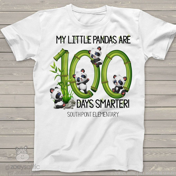 Teacher 100 days smarter panda Tshirt