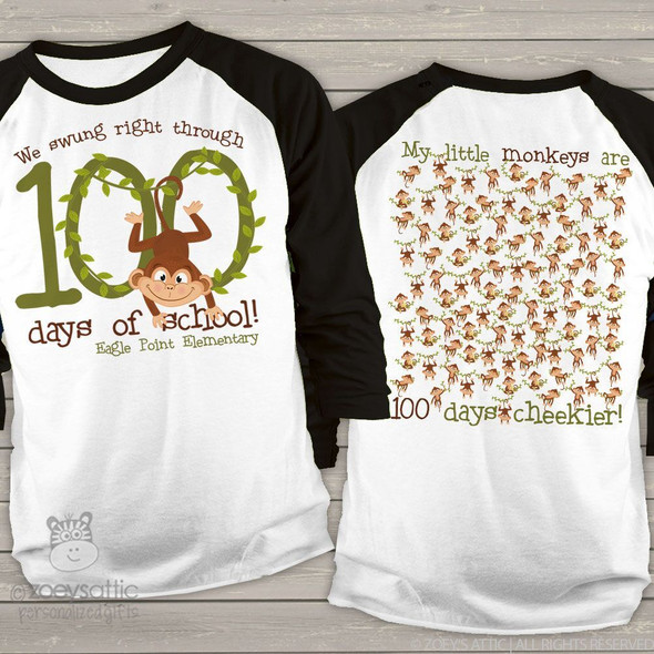 Teacher 100 days of school monkey unisex adult raglan shirt