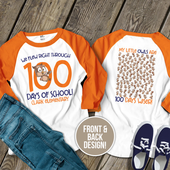 Teacher 100 days of school owl unisex adult raglan shirt