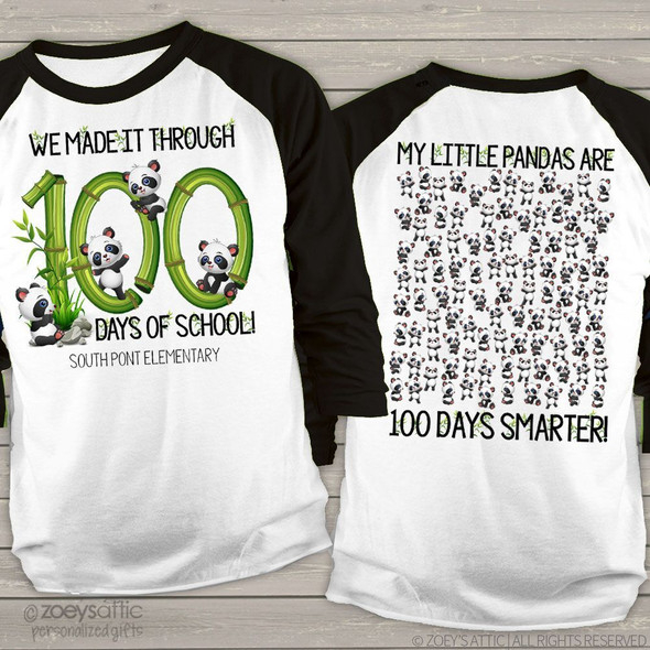 Teacher 100 days of school panda unisex adult raglan shirt