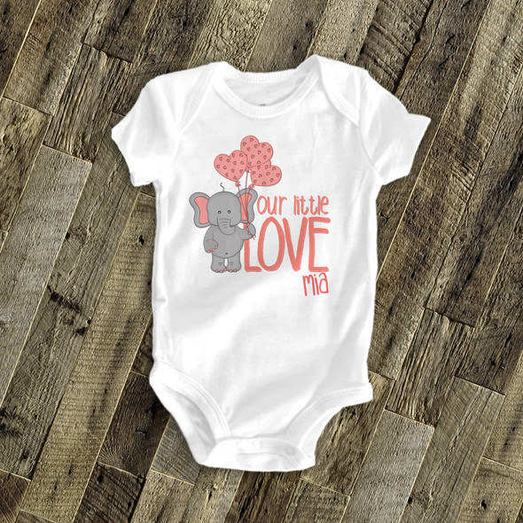Our little love elephant personalized bodysuit or Tshirt