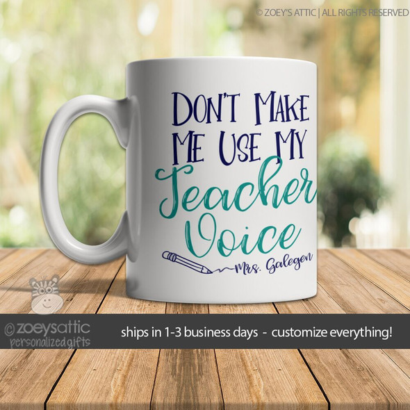 Teacher voice personalized coffee mug