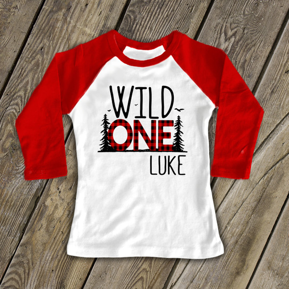 First birthday wild one buffalo plaid raglan shirt