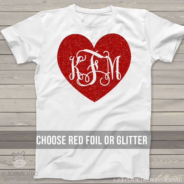 Valentine  monogram glitter or foil heart Tshirt