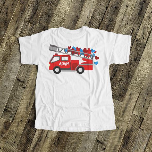 Valentine hearts firetruck personalized Tshirt
