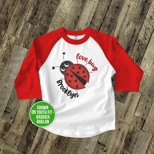 Valentine's Day love bug personalized raglan shirt