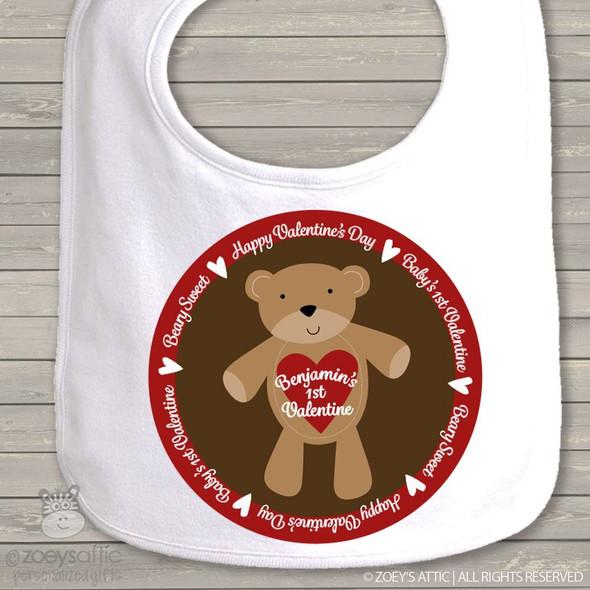 Beary sweet 1st Valentine baby bib