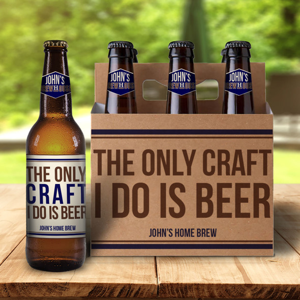 Home brew custom cardboard paper six pack holder with optional labels