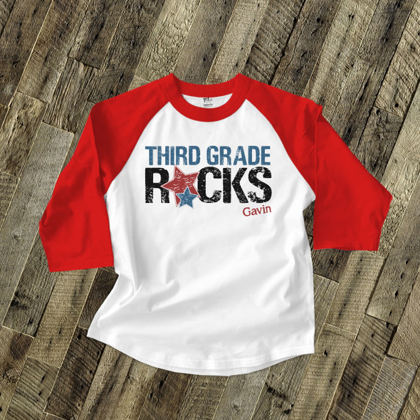 Back to school third grade or any grade rocks childrens raglan shirt