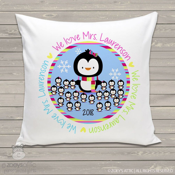 We love our teacher penguin throw pillow