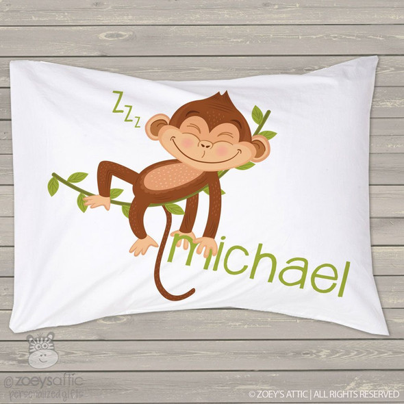 Sleeping monkey personalized pillowcase / pillow