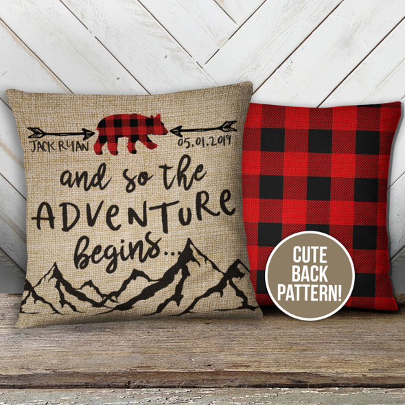 Buffalo plaid bear faux burlap nursery pillow