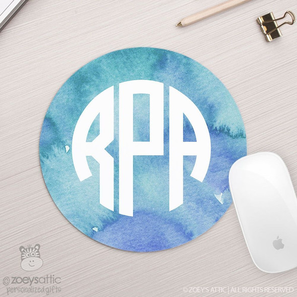 Monogram watercolor round / circular mousepad