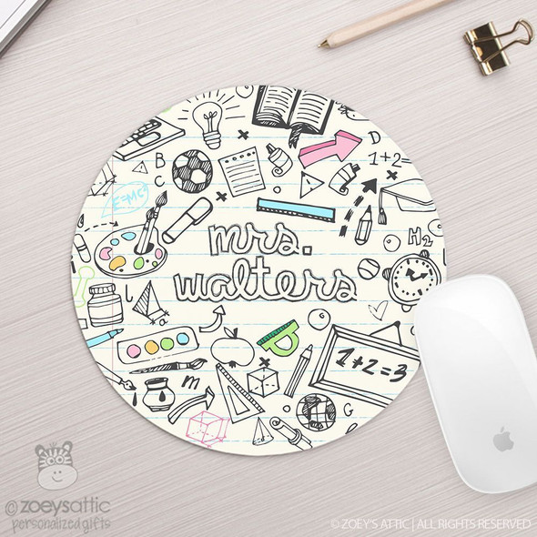 Teacher school theme personalized round / circular mousepad