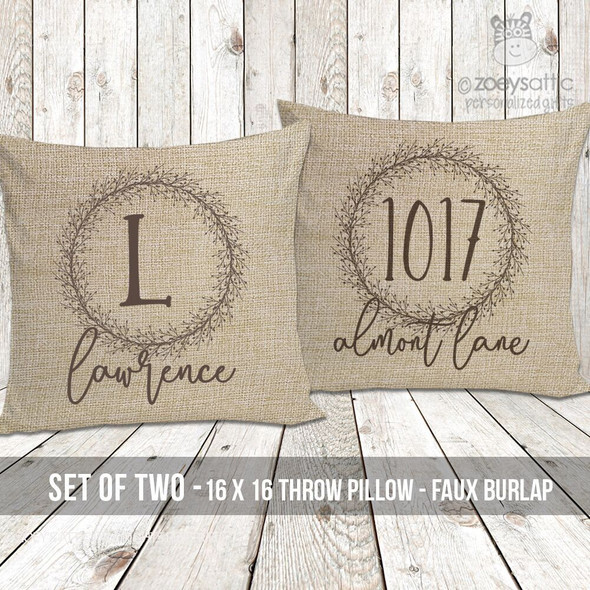 Initial with name and address faux burlap porch pillow set