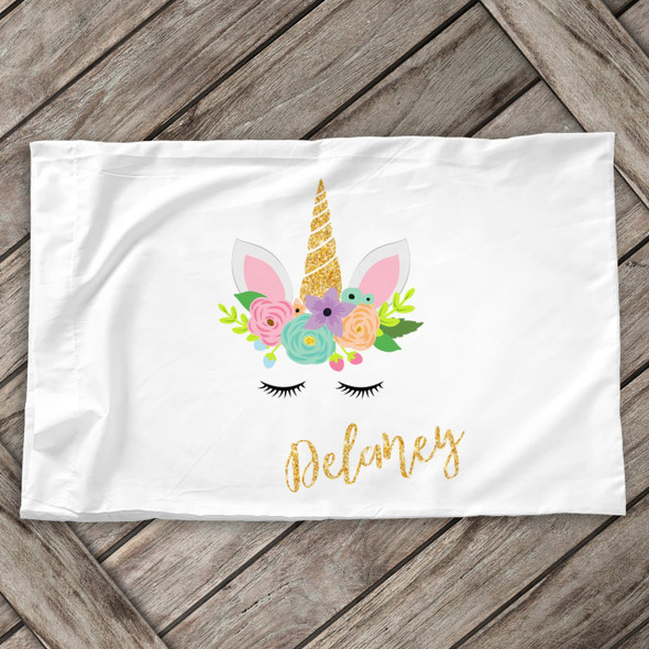 Glitter unicorn face personalized standard size pillowcase