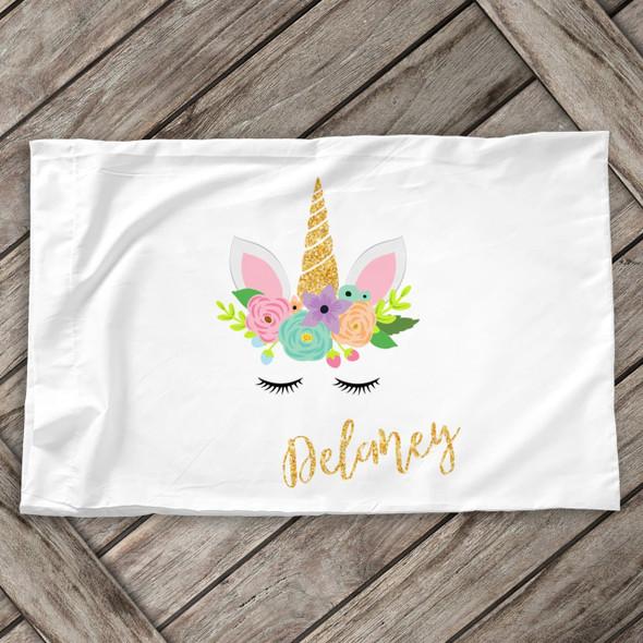 Glitter unicorn face personalized standard size pillowcase
