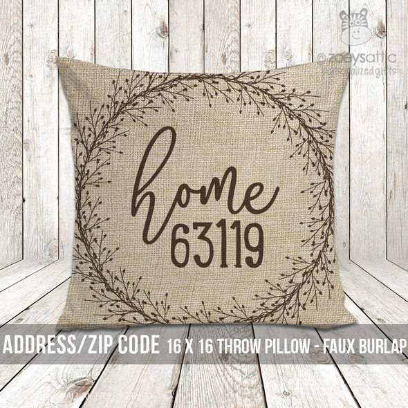 Home zip code faux burlap porch pillow