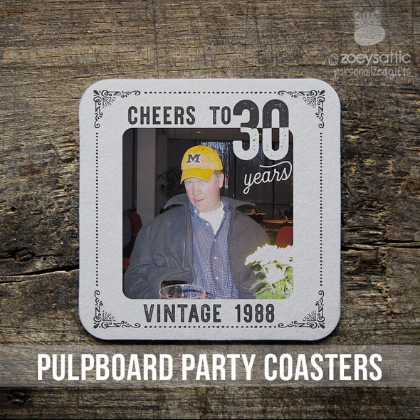30th birthday or any birthday pulpboard custom photo coasters