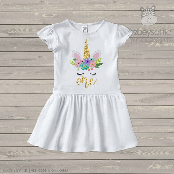 First birthday unicorn face glitter infant or toddler dress