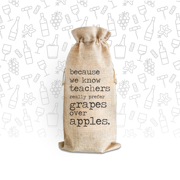 Because we know teachers really prefer grapes wine bottle canvas tote