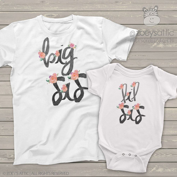 Big sis lil sis soft pink rose sibling shirt set