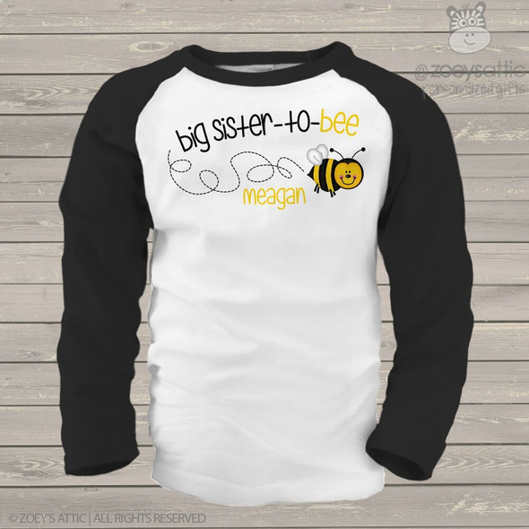 Big sister to bee pregnancy announcement raglan Tshirt