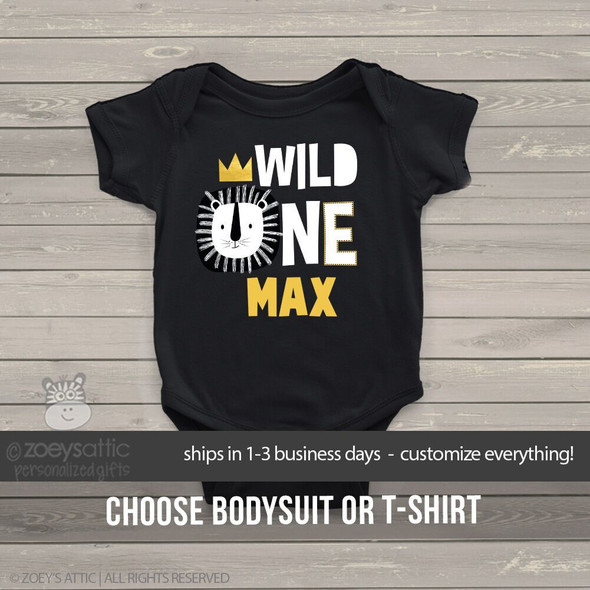 First birthday wild one lion gold crown DARK bodysuit or Tshirt