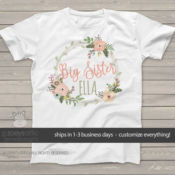 Big sister flower wreath personalized Tshirt