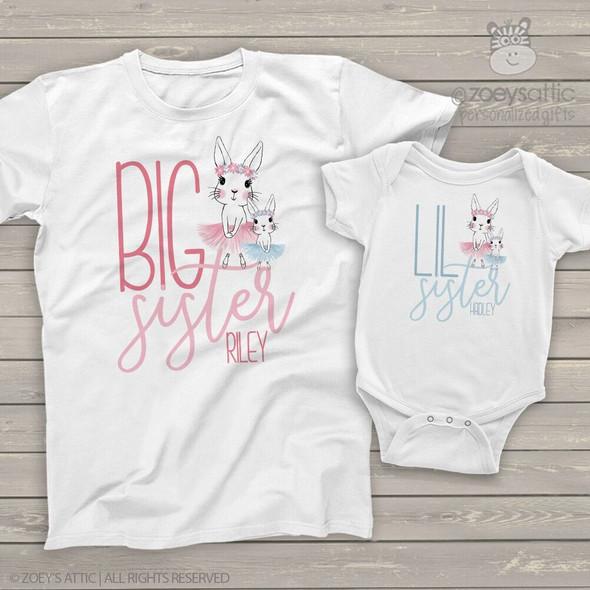 Easter big sister lil sister tutu bunny sibling shirt set