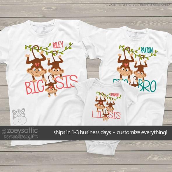 Brother or sister monkey sibling three shirt set