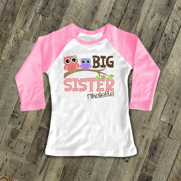 Big sister funky owl personalized raglan shirt