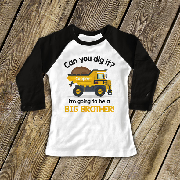 Big brother to be dump truck raglan shirt