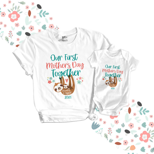 First Mothers Day mommy baby sloth matching shirt gift set