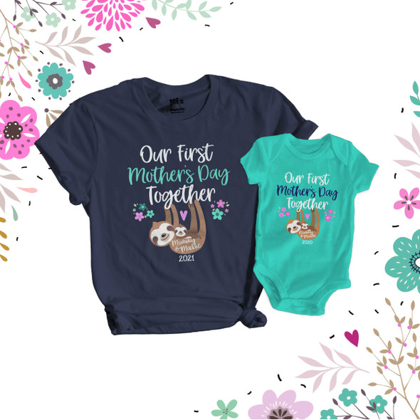 First Mothers Day mommy baby sloth matching DARK shirt gift set