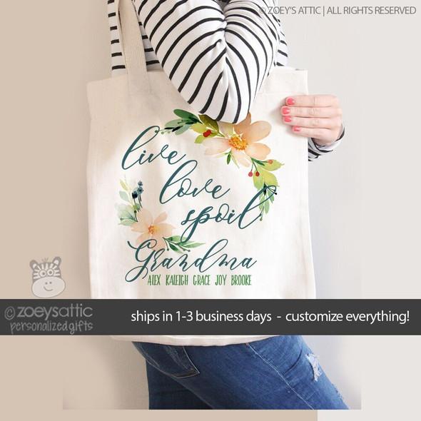 Grandma live love spoil tote bag