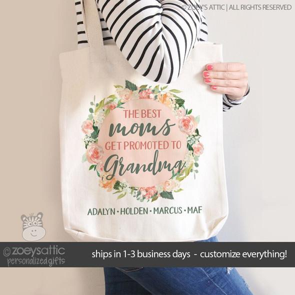 Best moms get promoted to grandma floral wreath tote bag