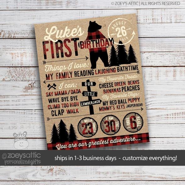 First birthday lumberjack buffalo plaid poster