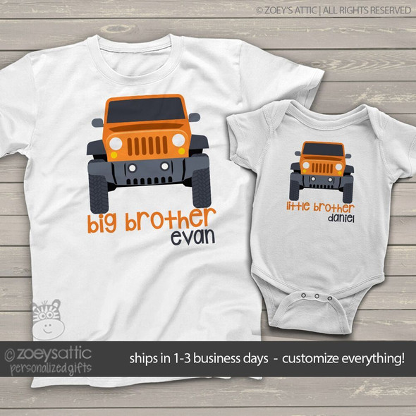 Big brother little brother jeep matching sibling Tshirt set