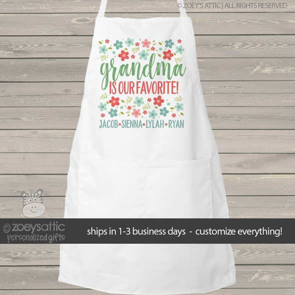 Grandma is our favorite flowers adult personalized bib apron