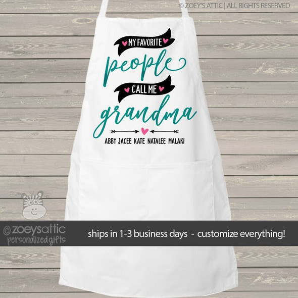 My favorite people call me grandma adult personalized bib apron