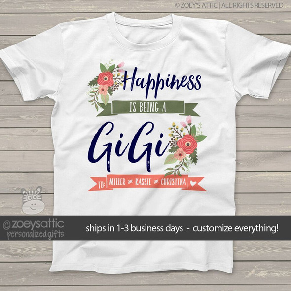 Happiness is being a GiGi personalized Tshirt