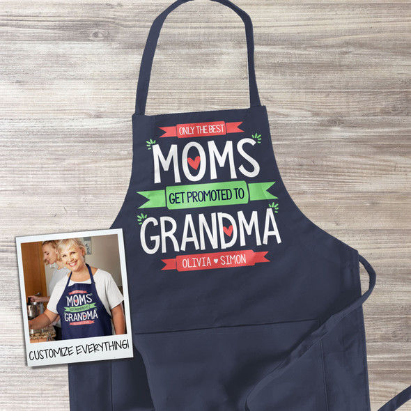 Best moms get promoted to grandma personalized dark apron