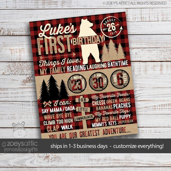 First birthday bear lumberjack buffalo plaid poster
