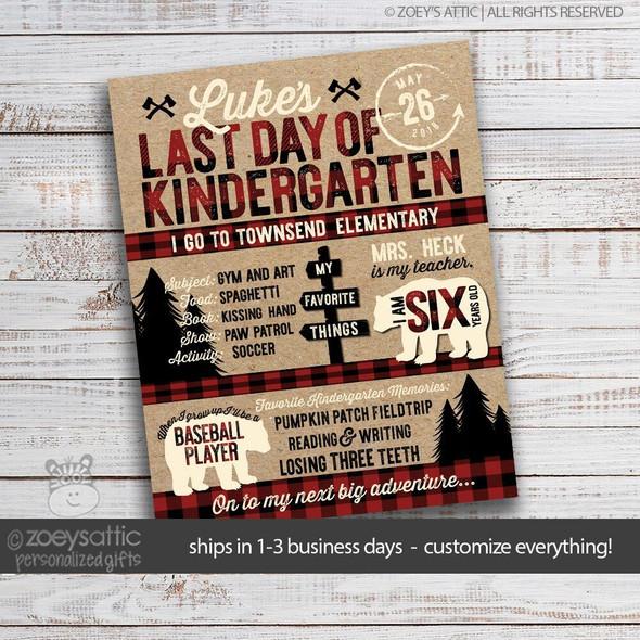 Last day of school lumberjack buffalo plaid milestone sign poster