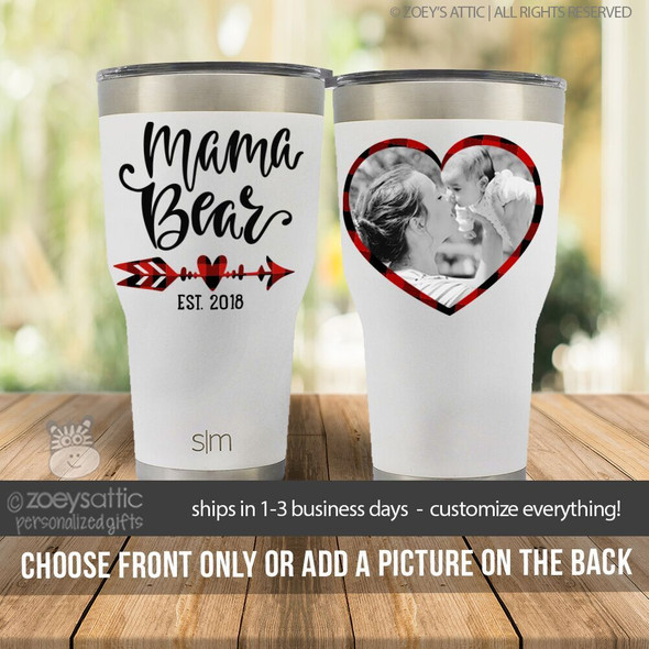 Mama bear stainless steel tumbler with optional photo