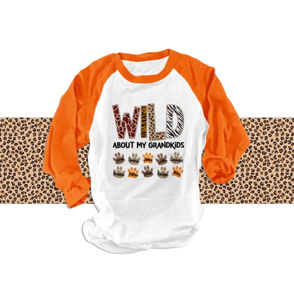 Wild about my  grandkids ADULT raglan shirt