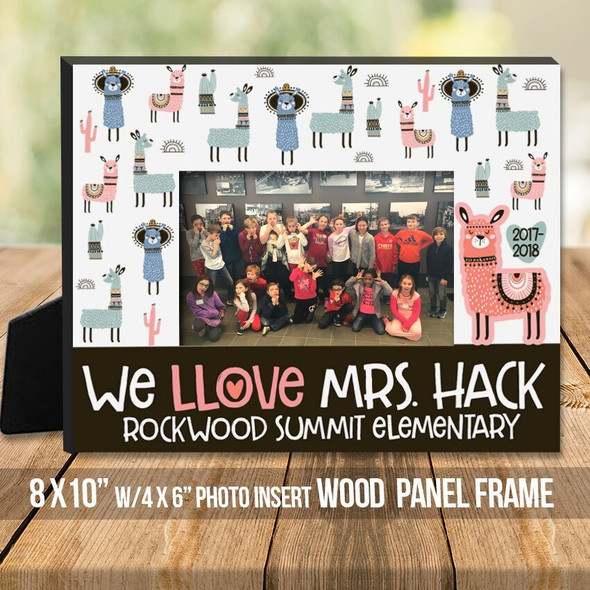Teacher love llama personalized class photo frame